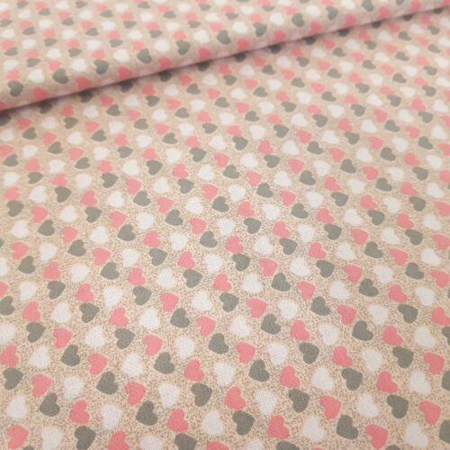 Rózsaszín-szürke szíves pamutvászon