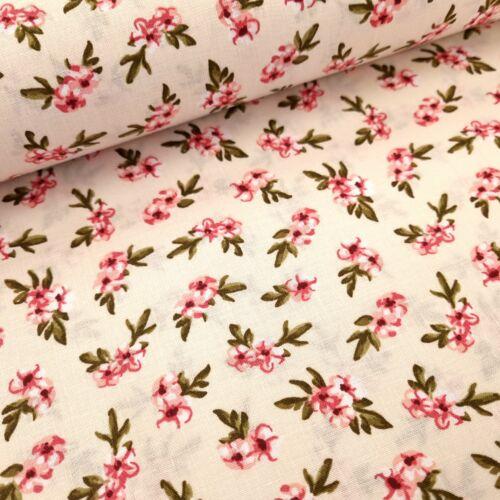 Rózsaszín virágos pamutvászon - bézs
