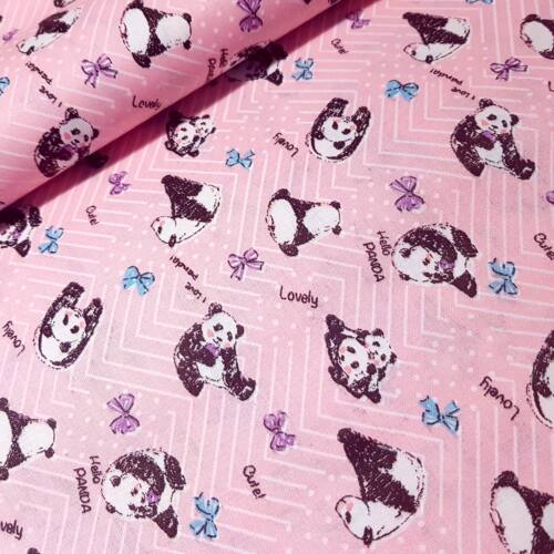 Rózsaszín alapon panda macis pamutvászon