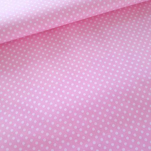 Rózsaszín alapon pöttyös pamutvászon ( 2 mm )