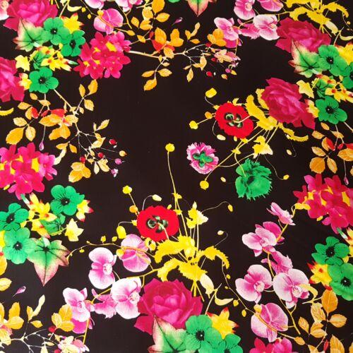 Fekete alapon virágmintás stretch vászon