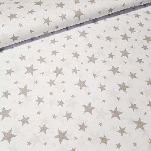 Szürke csillagos pamutvászon fehér alapon - 160 cm