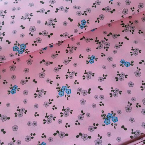 Szürke kis virágos pamutvászon pasztell rózsaszín alapon