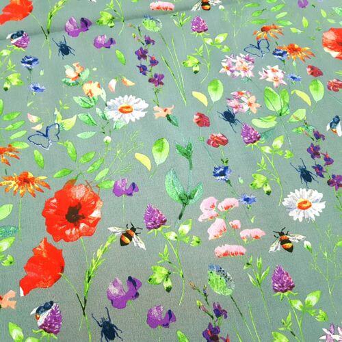 Tavaszi virágos pamutvászon szürke alapon - 160 cm