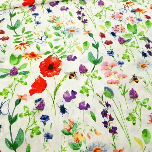 Tavaszi virágos pamutvászon fehér alapon - 160 cm