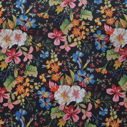 Tavaszi virágos dekorvászon fekete alapon