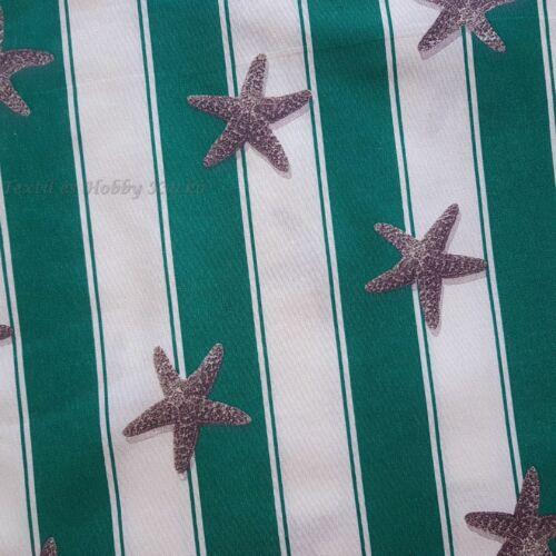 Tengeri csillagos zöld - fehér csíkos dekorvászon
