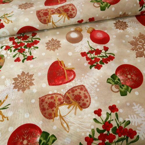 Textil szívecskés karácsonyi dekorvászon