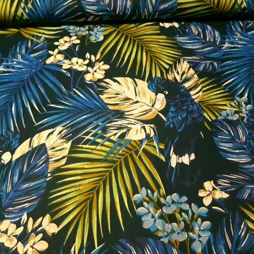 Trópusi pálmaleveles pamutvászon - kék