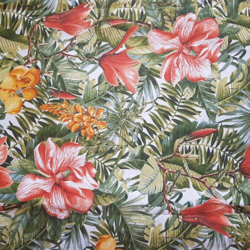 Tropical, trópusi mintás panama dekorvászon