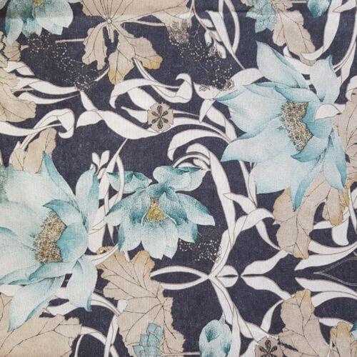 Tündérvirágos, türkiz-farmerkék lakástextil dekorvászon