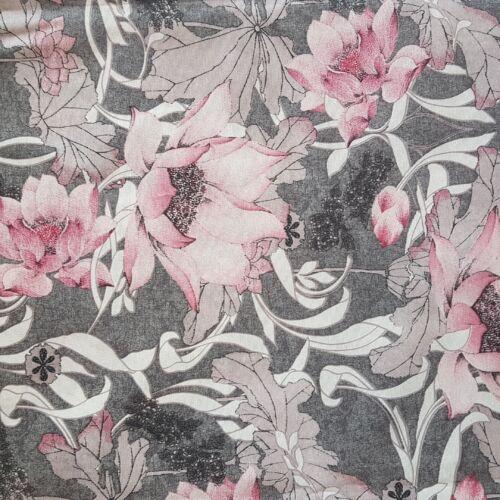 Tündérvirágos, rózsaszín-szürke lakástextil dekorvászon