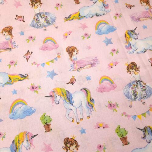Unikornis hercegnővel - pamutvászon rózsaszín alapon - 160 cm