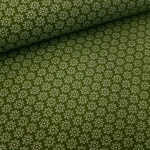 Virágmintás pamutvászon Khaki (160 cm)