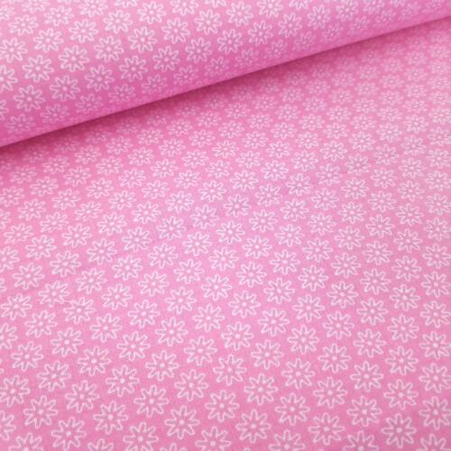 Virágmintás pamutvászon Rózsaszín (160 cm)