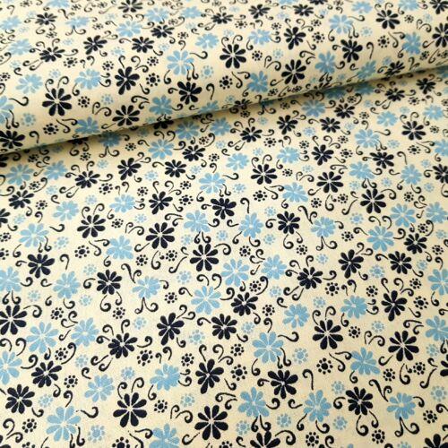 Virágmintás pamutvászon - kék