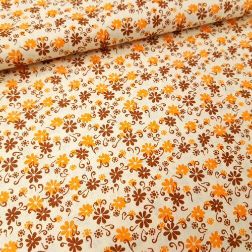 Virágmintás pamutvászon - narancs