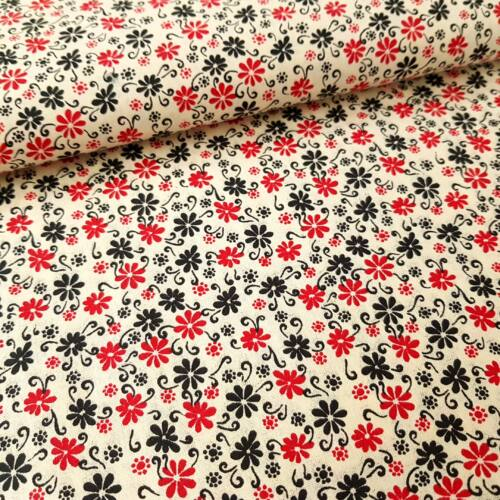 Virágmintás pamutvászon - piros