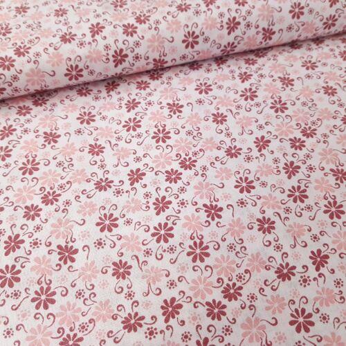 Virágmintás pamutvászon - rózsaszín