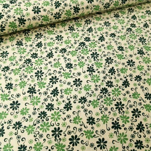 Virágmintás pamutvászon - zöld