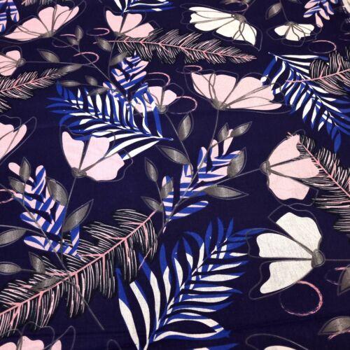 Virágos pamutvászon - sötétkék