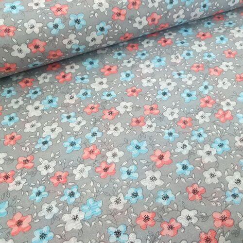 Kék-rózsaszín-fehér virágos pamutvászon -szürke alapon