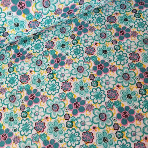 Virágos pamutvászon - türkiz színű