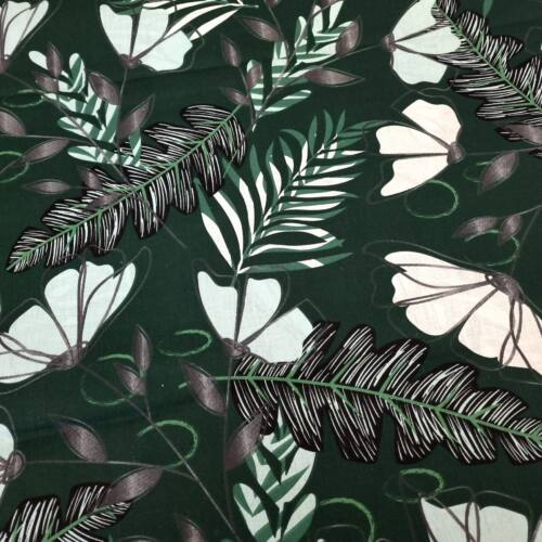 Virágos pamutvászon - zöld