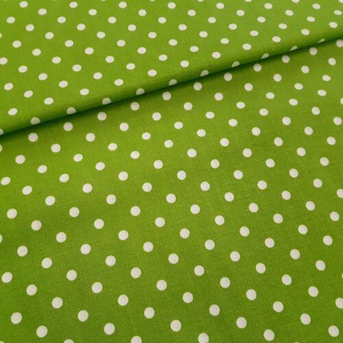 Zöld alapon pöttyös pamutvászon ( 5 mm)