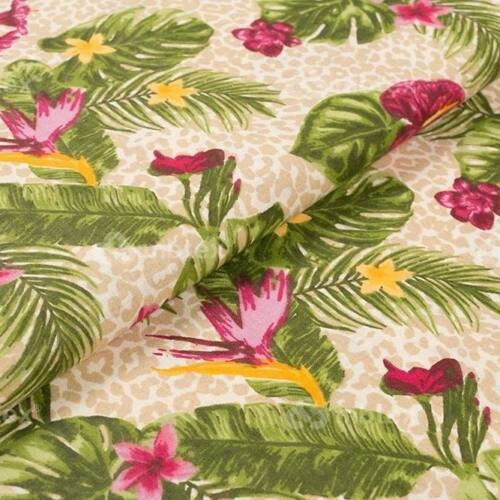 Trópusi virágos pamutvászon - mályva