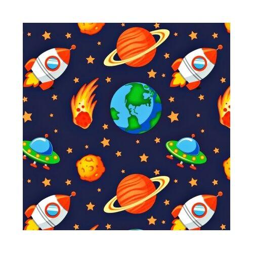 Űrhajós pamutvászon(160 cm) sötétkék alapon